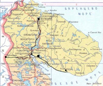 Карта. Кольский полуостров. Кемпинг 'Колвица'.
